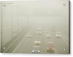 Driving In Fog On The M1 Motorway Acrylic Print by Ashley Cooper