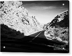 Driving Through Canyons On The White Domes Road Scenic Drive Valley Of Fire State Park Nevada Usa Acrylic Print by Joe Fox