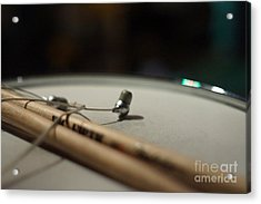 Drumsticks And Ear Buds Acrylic Print by Lynda Dawson-Youngclaus