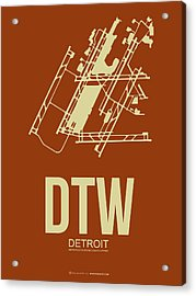 Dtw Detroit Airport Poster 2 Acrylic Print by Naxart Studio