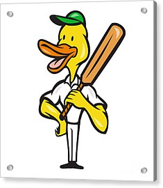 Duck Cricket Player Batsman Standing Acrylic Print by Aloysius Patrimonio