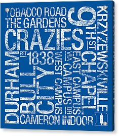 Duke College Colors Subway Art Acrylic Print by Replay Photos