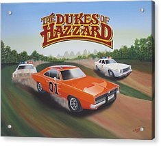 Dukes Of Hazzard Chase Acrylic Print by Gregory Murray