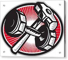 Dumbbell And Sledgehammer Retro Acrylic Print by Aloysius Patrimonio