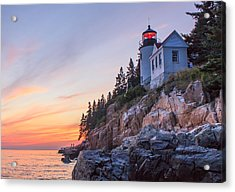 Dusk At Bass Harbor Light Acrylic Print by Stephen Beckwith
