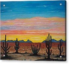 Dusk At Sonoran Desert Acrylic Print by Jorge Cristopulos