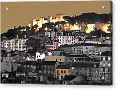 Dusk Falls On St. George Castle Lisbon Acrylic Print by Linda  Parker