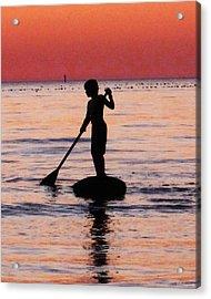 Dusk Float - Sunset Art Acrylic Print by Sharon Cummings