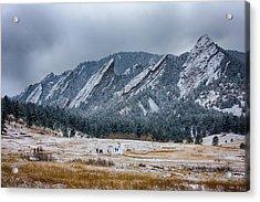 Dusted Flatirons Chautauqua Park Boulder Colorado Acrylic Print by James BO  Insogna