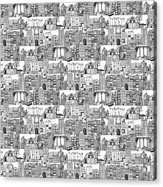 Dystopian Toile De Jouy Black White Acrylic Print by Sharon Turner