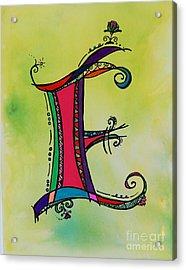 'e' Monogram Acrylic Print by Joyce Auteri