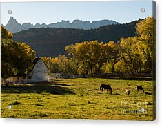 Eagle Crags Above Two Feathers Ranch Rockville Utah Acrylic Print by Robert Ford