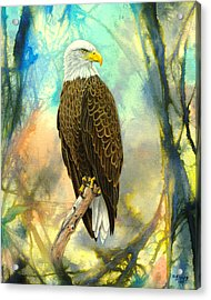 Eagle In Abstract Acrylic Print by Paul Krapf