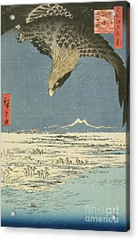 Eagle Over One Hundred Thousand Acre Plain At Susaki Acrylic Print by Hiroshige