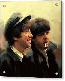 Early Days II John Lennon And Paul Mccartney Acrylic Print by Iconic Images Art Gallery David Pucciarelli