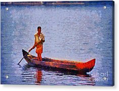 Early Morning Fishing In India Acrylic Print by George Atsametakis