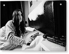 Early Twenties Woman Waking Holding Handgun In Bed In A Bedroom Acrylic Print by Joe Fox