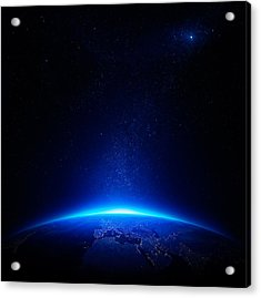 Earth At Night With City Lights Acrylic Print by Johan Swanepoel