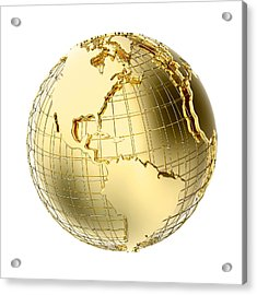 Earth In Gold Metal Isolated On White Acrylic Print by Johan Swanepoel