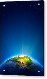 Earth Radiant Light Series - North America Acrylic Print by Johan Swanepoel