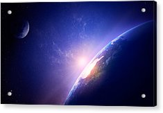 Earth Sunrise In Foggy Space Acrylic Print by Johan Swanepoel