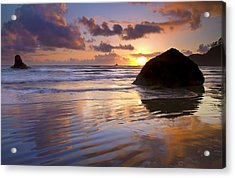 Ecola Sunset Acrylic Print by Mike  Dawson
