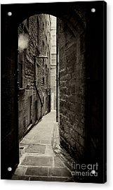 Edinburgh Alley Sepia Acrylic Print by Jane Rix