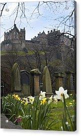 Edinburgh Graveyard And Castle Acrylic Print by Mike McGlothlen