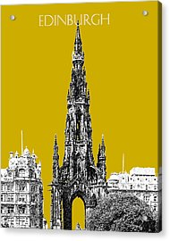Edinburgh Skyline Scott Monument - Gold Acrylic Print by DB Artist