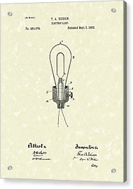 Edison Electric Lamp 1882 Patent Art Acrylic Print by Prior Art Design