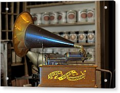 Edison Home Phonograph With Morning Glory Horn Acrylic Print by Christine Till