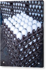Eggs Get Stacked In Crates Acrylic Print by David H. Wells