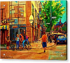 Eggspectation Cafe Resto Bar On Esplanade Montreal Restaurant City Scene Acrylic Print by Carole Spandau