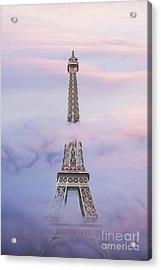 Eifell Tower By Fog Acrylic Print by Martin Dzurjanik