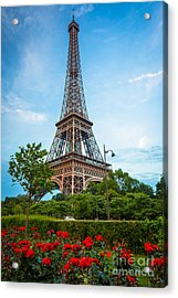 Eiffel Tower And Red Roses Acrylic Print by Inge Johnsson