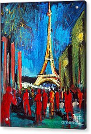 Eiffel Tower And The Red Visitors Acrylic Print by Mona Edulesco