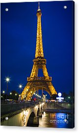 Eiffel Tower By Night Acrylic Print by Inge Johnsson