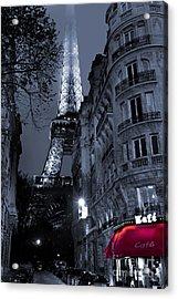 Eiffel Tower From A Side Street Acrylic Print by Simon Kayne