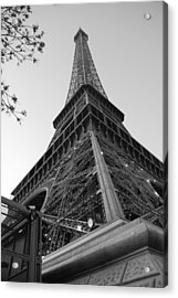 Eiffel Tower In Black And White Acrylic Print by Jennifer Ancker