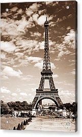 Eiffel Tower In Sepia Acrylic Print by Elena Elisseeva