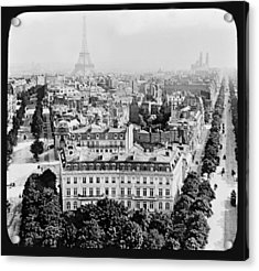 Acrylic Print featuring the photograph Eiffel Tower Paris Rooftops1903 by A Gurmankin