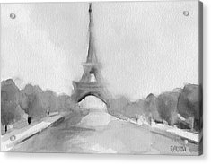 Eiffel Tower Watercolor Painting - Black And White Acrylic Print by Beverly Brown