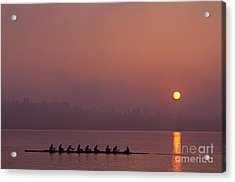 Eight Man Crew On Union Bay Silhouetted At Sunrise  Acrylic Print by Jim Corwin