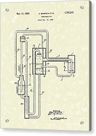 Einstein Refrigerator 1930 Patent Art Acrylic Print by Prior Art Design