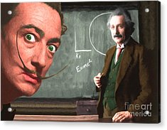Einstein Shows Dali The Theory Of Relativity 20141215 Acrylic Print by Wingsdomain Art and Photography