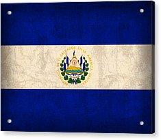 El Salvador Flag Vintage Distressed Finish Acrylic Print by Design Turnpike