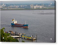 Elbe River And Airbus Factory Acrylic Print by Panoramic Images