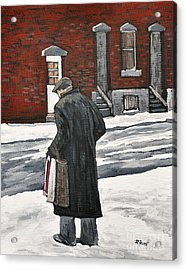 Elderly Gentleman  In Pointe St. Charles Acrylic Print by Reb Frost