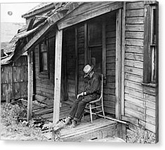 Elderly Man Doses On His Porch Acrylic Print by Underwood Archives