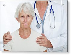 Elderly Woman With Doctor Acrylic Print by Lea Paterson